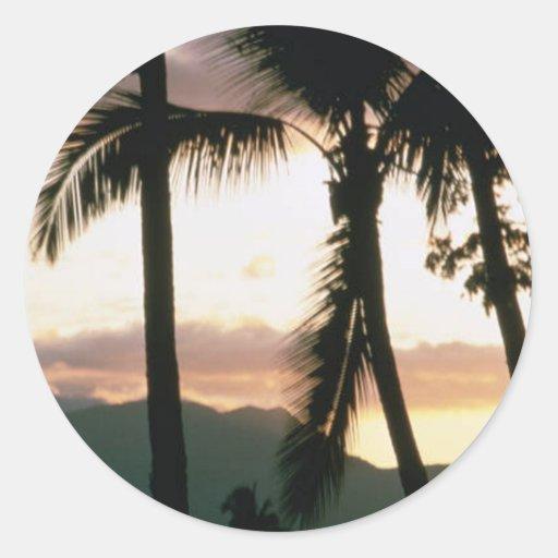 Puesta del sol de Fiji Etiqueta Redonda