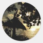 Puesta del sol de Fiji Etiquetas Redondas