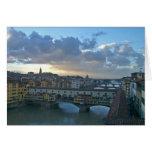Puesta del sol de Florencia - de Arno Felicitación