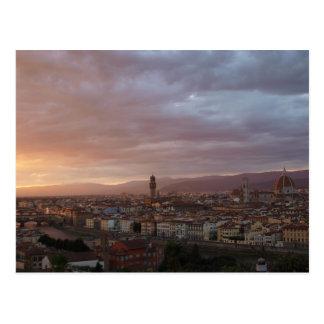 Puesta del sol de Florencia, Italia Postales