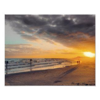 Puesta del sol de Galveston Fotografias