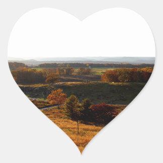 Puesta del sol de Gettsburg Pegatina En Forma De Corazón