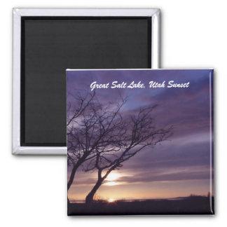 Puesta del sol de Great Salt Lake, Utah Imán Cuadrado