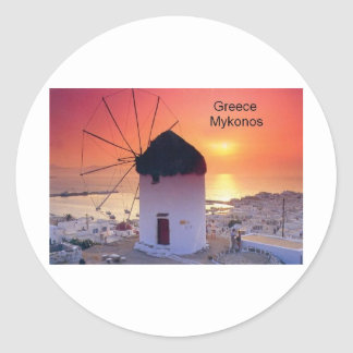 Puesta del sol de Grecia Mykonos (St.K) Pegatina Redonda