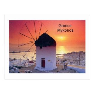 Puesta del sol de Grecia Mykonos (St.K) Tarjetas Postales