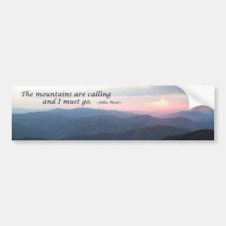 Puesta del sol de GSMNP Las montañas son calling Etiqueta De Parachoque
