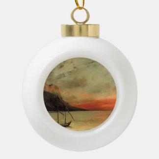 Puesta del sol de Gustavo Courbet- sobre el lago L Adorno