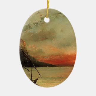 Puesta del sol de Gustavo Courbet- sobre el lago L Ornamentos De Reyes