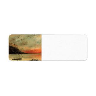 Puesta del sol de Gustavo Courbet- sobre el lago L Etiquetas De Remite