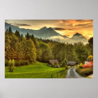 Puesta del sol de Hasliberg Suiza y montañas del s Poster