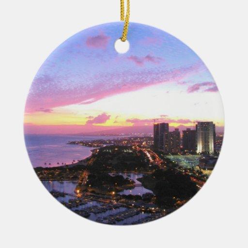 Puesta del sol de Hawaii del paisaje urbano de Hon Ornamento De Navidad