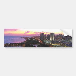 Puesta del sol de Hawaii del paisaje urbano de Hon Pegatina Para Auto
