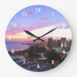 Puesta del sol de Hawaii del paisaje urbano de Reloj Redondo Grande