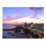 Puesta del sol de Hawaii del paisaje urbano de Postal