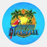 Puesta del sol de Hawaii Etiquetas Redondas