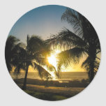 Puesta del sol de Hawaii Pegatina Redonda