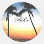 Puesta del sol de Hawaii que brilla intensamente Pegatina Redonda