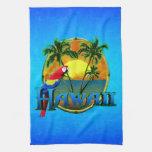 Puesta del sol de Hawaii Toallas De Cocina