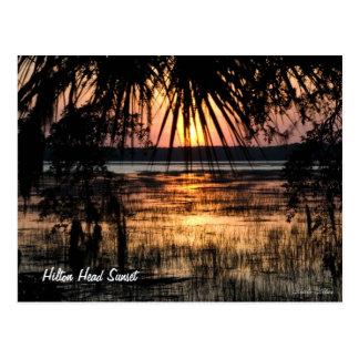 Puesta del sol de Hilton Head Tarjetas Postales