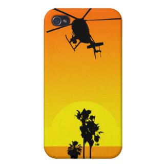 Puesta del sol de Hughes 500 iPhone 4 Carcasa