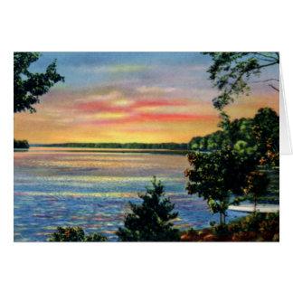 Puesta del sol de Huntersville Carolina del Norte  Tarjeton