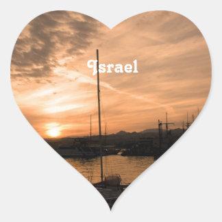 Puesta del sol de Israel Calcomania De Corazon Personalizadas