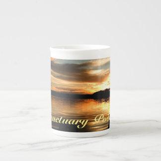 Puesta del sol de julio taza de porcelana