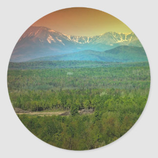 Puesta del sol de Katahdin de Maine Pegatina Redonda