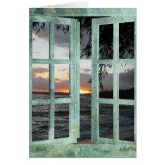 Puesta del sol de Kauai de la escena de la ventana Tarjeta De Felicitación