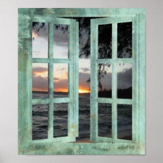 Puesta del sol de Kauai de la ventana abierta Póster