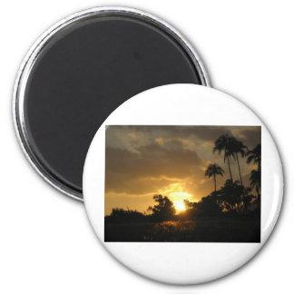 Puesta del sol de Kauai, Hawaii Imán Redondo 5 Cm