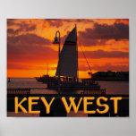 Puesta del sol de Key West con los barcos Posters