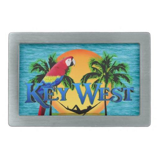 Puesta del sol de Key West Hebillas De Cinturón Rectangulares
