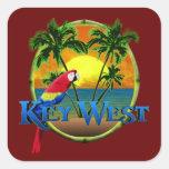 Puesta del sol de Key West Pegatinas Cuadradas Personalizadas
