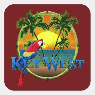 Puesta del sol de Key West Pegatina Cuadrada