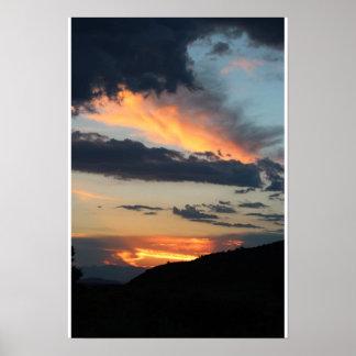 Puesta del sol de la acuarela póster