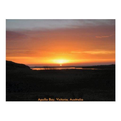 Puesta del sol de la bahía de Apolo Postal