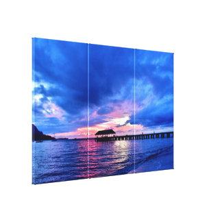 Puesta del sol de la bahía de Hanalei - Kauai, Impresión En Lienzo