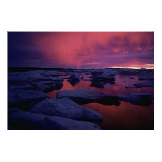 Puesta del sol de la Bahía de Hudson Poster