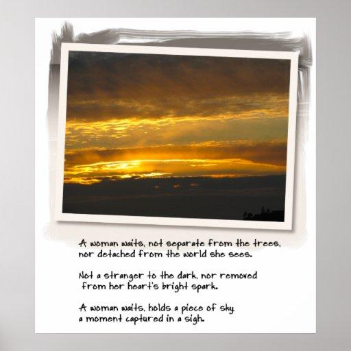 Puesta del sol de la bahía del poema y del abedul  impresiones
