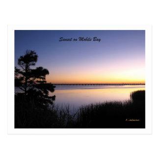 Puesta del sol de la bahía móvil tarjetas postales