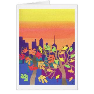 Puesta del sol de la caída sobre NYC Felicitacion