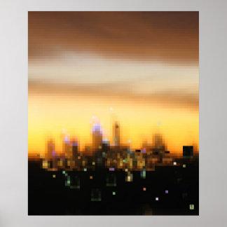 Puesta del sol de la ciudad poster