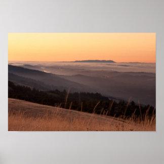 Puesta del sol de la colina de Borel Póster