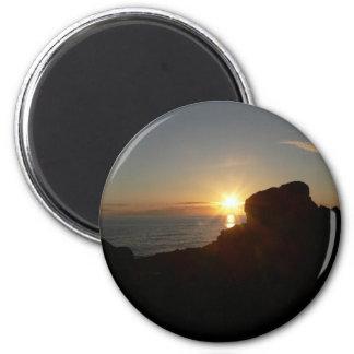 Puesta del sol de la costa de Oregon Imán Redondo 5 Cm