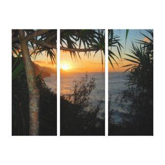 Puesta del sol de la costa del Na Pali de Kauai Lona Envuelta Para Galerías