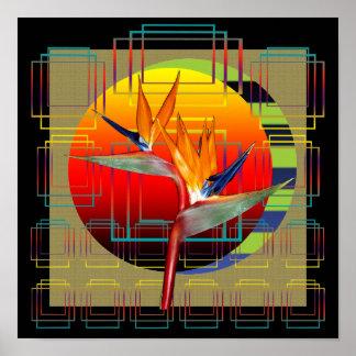 Puesta del sol de la flor de la ave del paraíso de posters