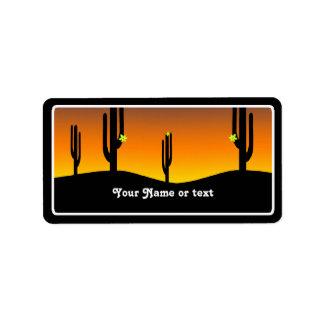 Puesta del sol de la flor del cactus etiqueta de dirección