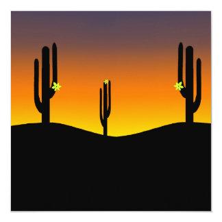 Puesta del sol de la flor del cactus invitacion personal