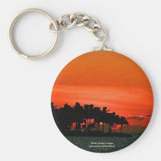 Puesta del sol de la Florida con las palmeras Llavero Redondo Tipo Pin